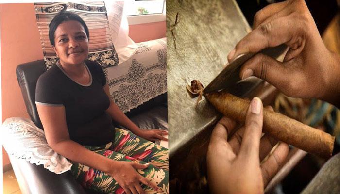 Una mujer de Caraballo, cumplió su sueño de torcer el tabaco. Foto Yainely Guerra