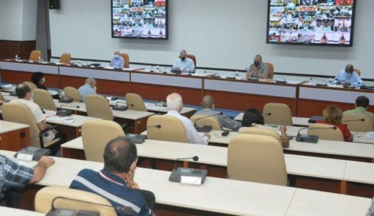 Videoconferencia realizada con todos los gobernadores y el intendente del municipio especial Isla de la Juventud. Foto: Estudios Revolución.
