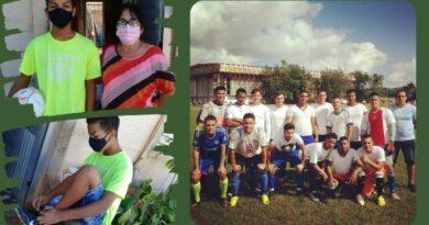 Equipo de fútbol de #Jaruco dona balón y zapatilla a niño que sobrevivió a la COVID-19.