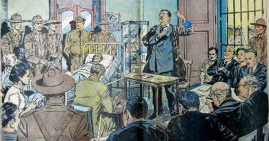 El juicio del Moncada resaltó los valores del Fidel jurista, que convertiría su alegato en el programa político de la Revolución. Foto: Dibujo de H. Maza