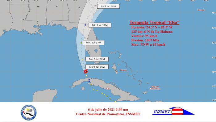 Trayectoria de la Tormenta Tropical Elsa a las 6 de la mañana de este martes Foto: INSMET