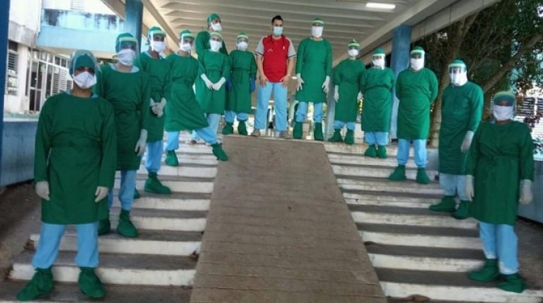 Estudiantes de la Universidad Agraria cooperan en la batalla contra la Covid-19.Foto. Archivo