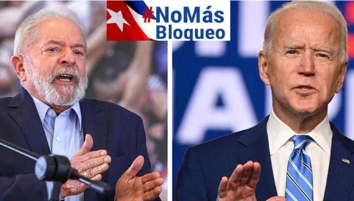 Lula solidario con Cuba instó a Biden a levantar el bloqueo. Foto tomada de Prensa Latina