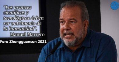 Intervención del Primer Ministro de la República de Cuba, Manuel Marrero Cruz, en el Foro Zhongguancun 2021. Foto: Tomada de Radio Rebelde.